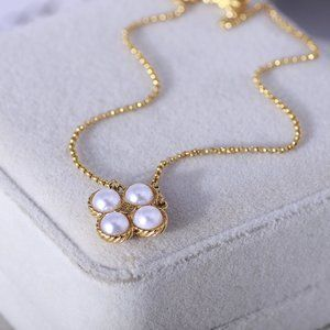 Tory Burch Woven Pattern Pearl Clover Necklace